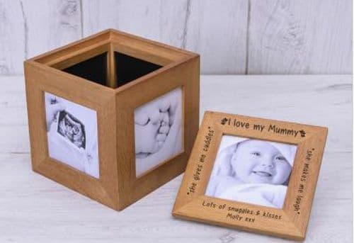 Love Mummy Oak Photo Cube