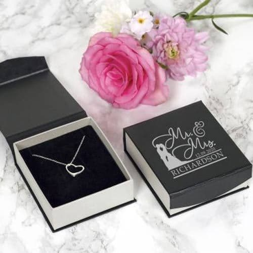Mr & Mrs Silver Heart Necklace (008)