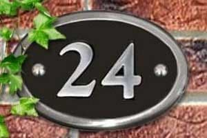 Oval Cast Aluminium House Number - Polished - PA7 - 140 x 100mm