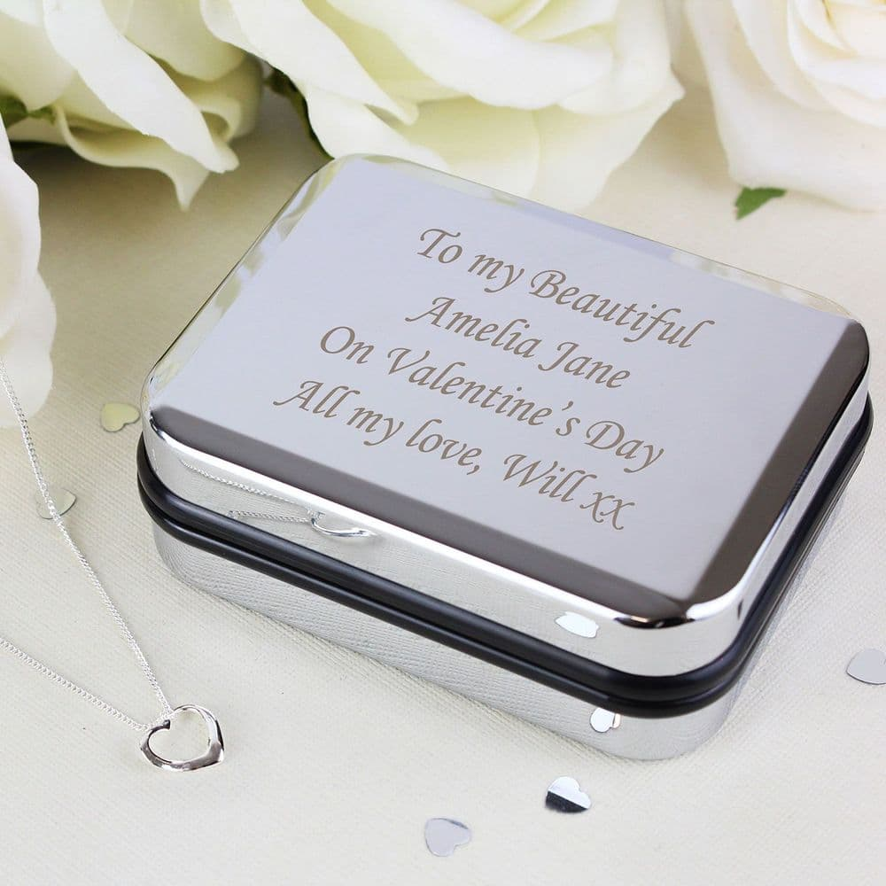 Personalised Chrome Gift Box with Stering Silver Heart Necklace