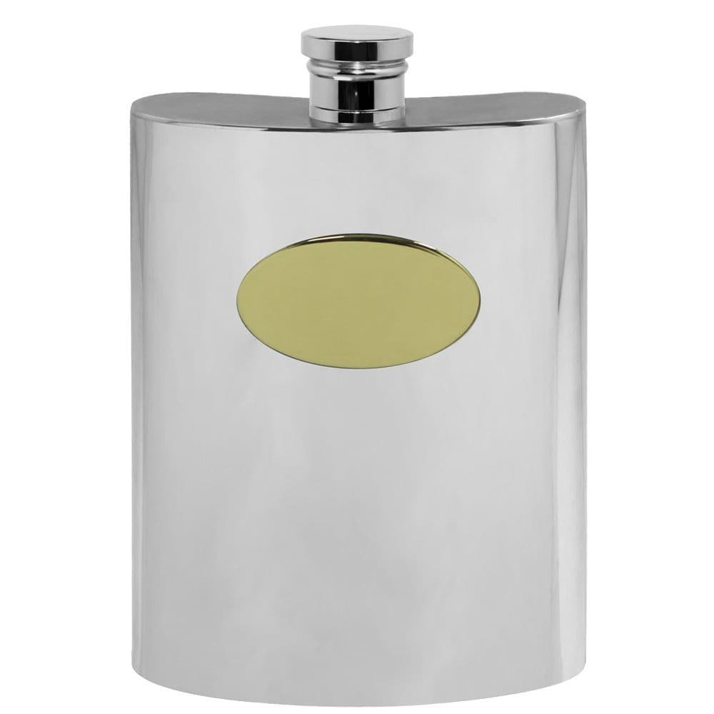 Pewter Hip Flask with a Brass Plate