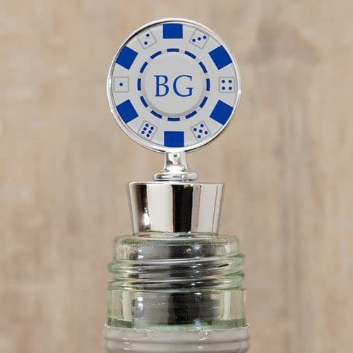 Poker Chip Bottle Stopper with Initials