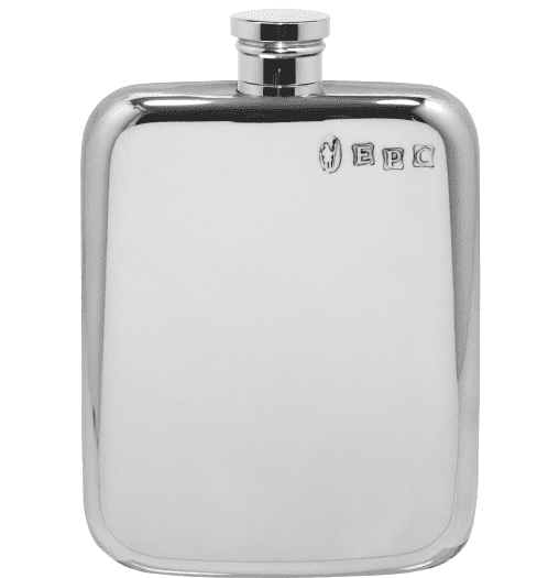 Polished Pewter Hip Flask with Rounded Corners