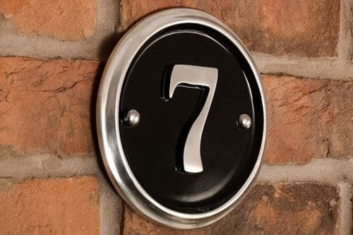 Polished  Round Cast Aluminium House Number -  160 mm diameter PA6