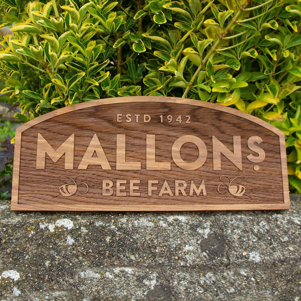 Reverse Lasered Oak Sign with Border