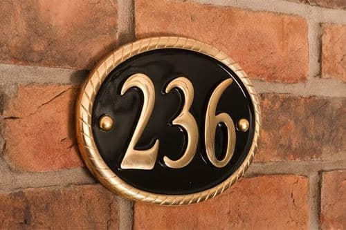 Rope Edge Cast Brass Number Sign - B7 - 19 x 14cm