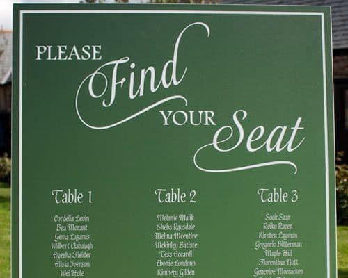 Seating Plans, Table Names, Place Names