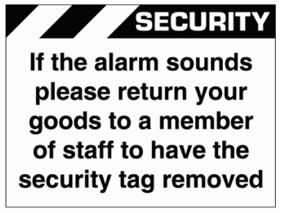 Security Sign - If The Alarm Sounds Please Return (2662)