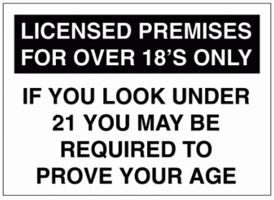 Security Sign -  Licensed Premises For Over 18's Only (2723)