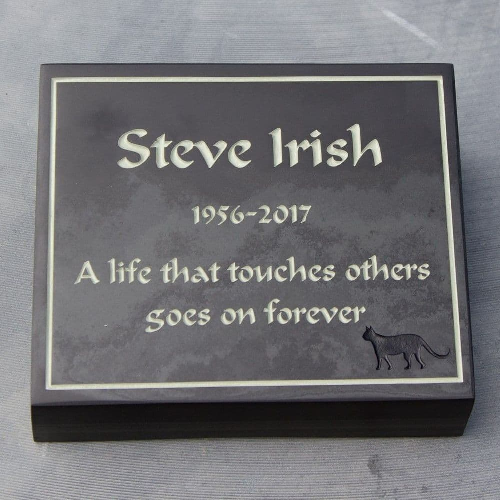Slate Memorial Wedge with Engraved Lettering