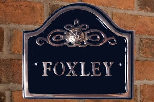 Small Polished Arch Top Cast Aluminium House Sign - PA16 -  190mm x 170mm