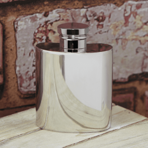Small Polished Pewter Hip Flask