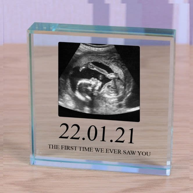 Special Date & Message  - Small Glass Photo Block