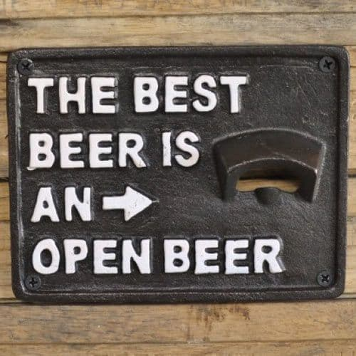 The Best Beer Bottle Opener - Cast Iron Sign - Black