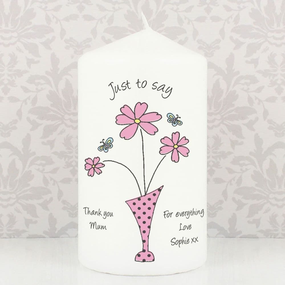 Three Flowers Message Candle