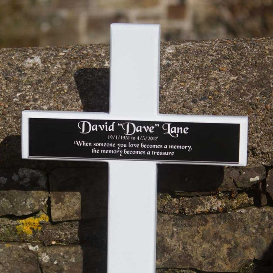 White Wooden Crosses With Black Acrylic Plaque