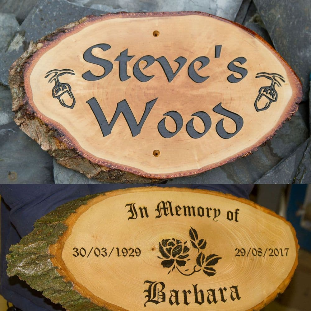 X  Large Rustic  Timber Slice with Carved Letters