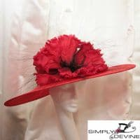 """""""WOW!"""" Red Poppy Couture Hat NR349"""