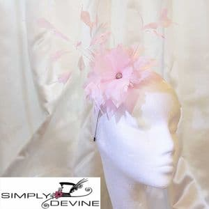 Baby Pink Feather Wedding or Race Day Fascinator/ Hatinator NR331