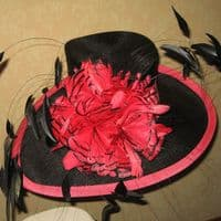 Black and Coral Wedding Ascot Hat 608