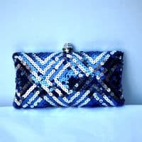 Blue-Silver Box Clutch Handbag KH160