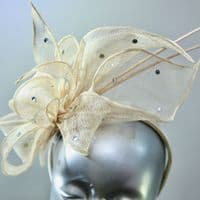 Champagne Pale Gold Quill race day  Fascinator  SN457/516
