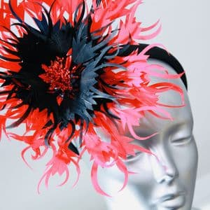 Couture Red & Blk Fascinator SD1048