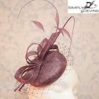Fascinator/hatinator in raisin plum F1612/7539
