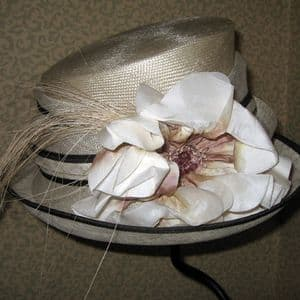 Fleur and Whispers Ivory and Brown Hat - SN204