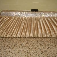 Gold Diamante Wedding Handbag - JE216