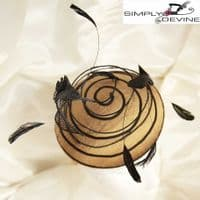 Silk Black and Gold Fascinator/Hatinator SN562