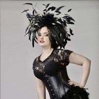 Stunning black feather raceday fascinator PB08