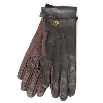 Country Brown Leather Strap Gloves