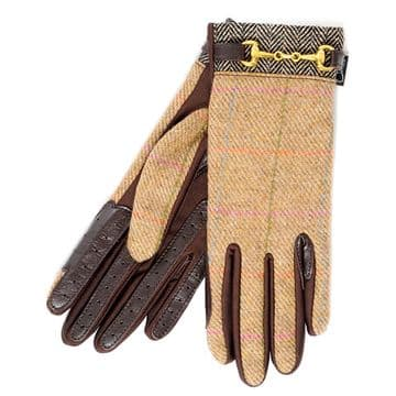 Country Tweed Ladies Riding Gloves with Snaffle Detail