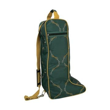Hy Equestrian Elegant Stirrup and Bit Boot Bag - Forest Green/Gold/Silver - One Size
