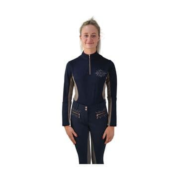 Hy Equestrian Kensington Ladies Long Sleeved Sports Shirt - Navy/Taupe/ Rose Gold