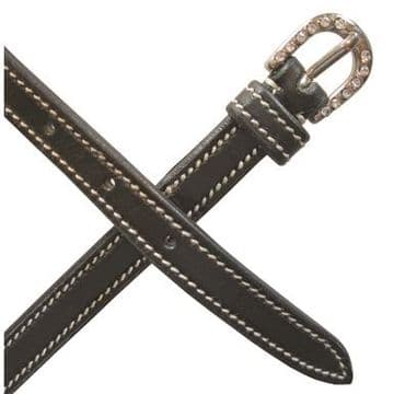 Mark Todd Leather Contrast Stitch Spur Straps with Diamante Buckle