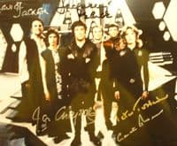 A144 - BLAKES SEVEN -  Signed by 5 of the cast 10x8 Photo