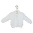 B108W - White  Ribbed Knitted baby cardigans