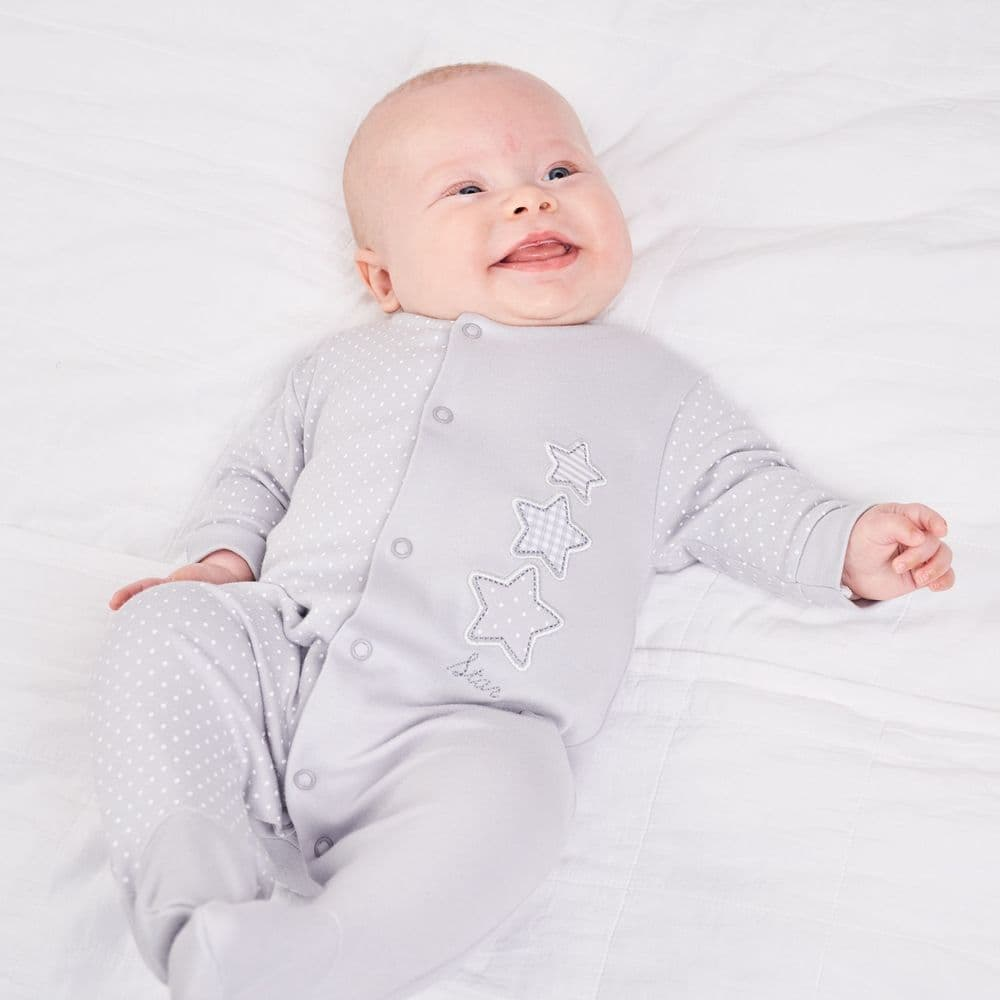 "DC3149G ""Triple Stars""  Cotton Sleepsuit"