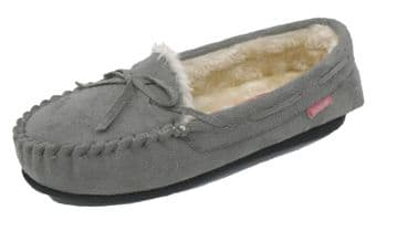 Dunlop BETH Ladies  Moccasin Slippers with Rubber Sole GREY