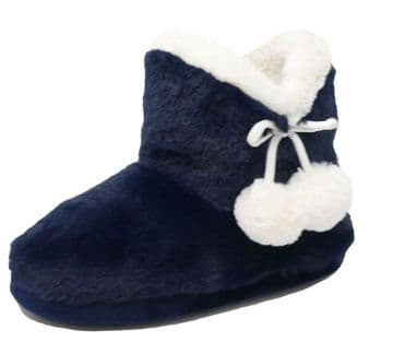 Dunlop Ladies Famous  Furry Pom Pom Slipper Boots  Warm Lining  NAVY