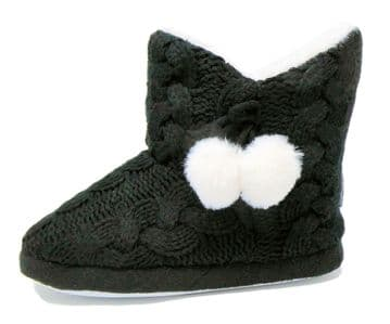 Dunlop Ladies Famous Slipper Boots, Cable Knit Upper Warm Lining Pom Poms BLACK Knit