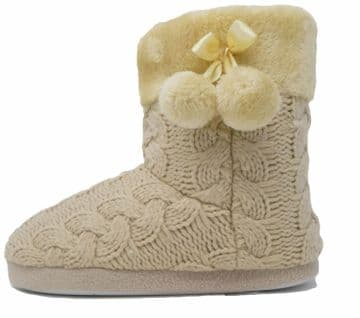 Dunlop Ladies Famous Slipper Boots, Cable Knit Upper Warm Lining Pom Poms GINGERBREAD