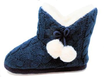 Dunlop Ladies Famous Slipper Boots, Cable Knit Upper Warm Lining Pom Poms NAVY Knit
