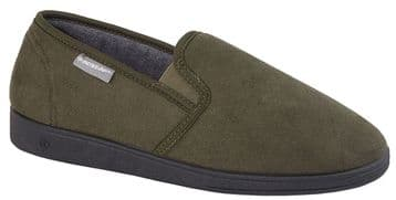 Dunlop Mens Famous 'JETHRO' Twin Gusset Slippers with Memory Foam OLIVE