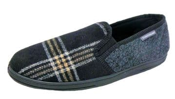Dunlop Mens Famous Lance Check Fabric Slippers, Memory Foam In-sock  BLACK