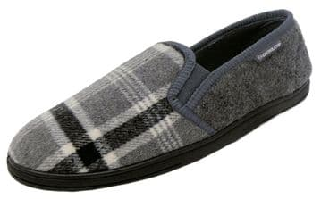Dunlop Mens Famous Lance Check Fabric Slippers, Memory Foam In-sock  GREY