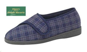 Men's Touch & Close Slippers Wide Fitting NAVY