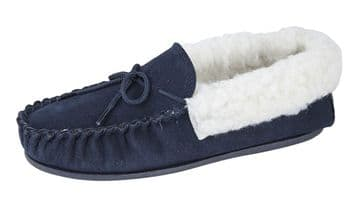 Mokkers  'EMILY' Real Suede Leather Moccasin with Hardwearing Sole  NAVY